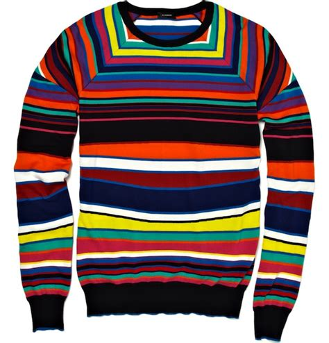 colored sweater usher in jil sander striped knitted sweater jourdain racing