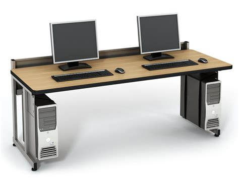 computer table with elevated back computer lab tables