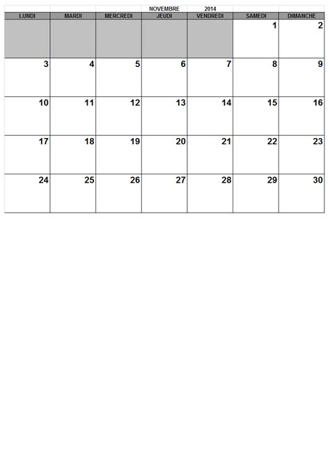 Calendrier 4 Novembre 2014 Mensuel 2014 Calendrier Gratuit