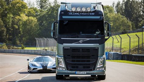 volvo truck video video volvo fh truck vs koenigsegg one 1 on track