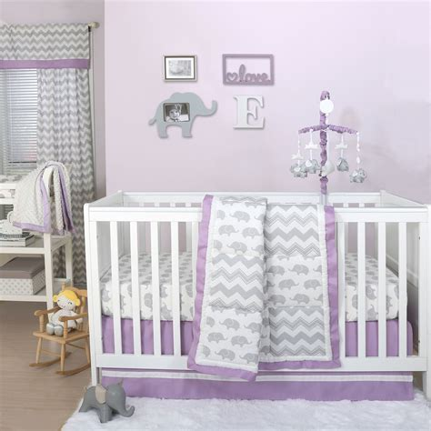 grey nursery bedding set grey elephant and chevron patchwork 3 crib bedding set with purple trim 615339564705 ebay