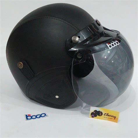 Helm Bogo Retro Sni Hitam Polos helm bogo retro dewasa kulit sni warna black hitam