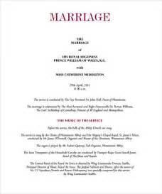 wedding reception program template sle wedding program template 9 documents in pdf
