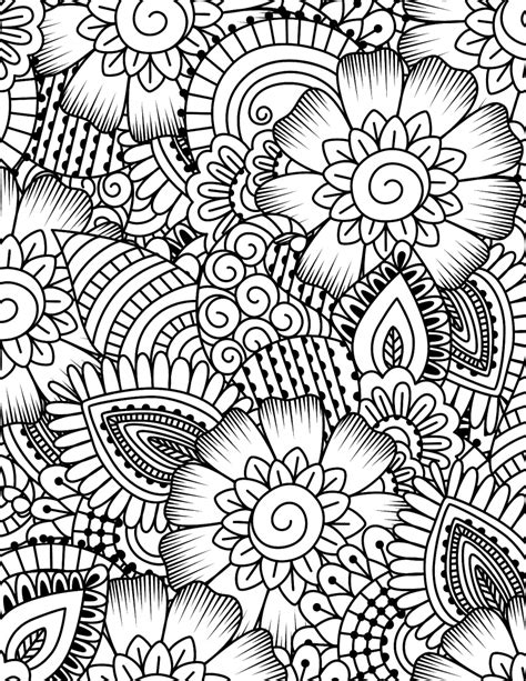 free printable coloring page flower collage картинки