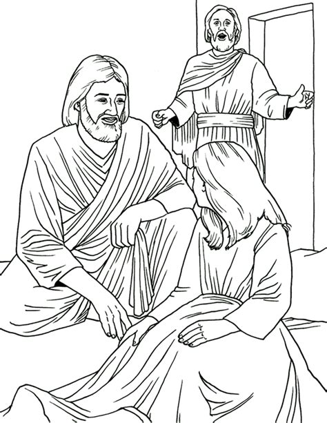 coloring page jesus heals jairus daughter raising jairus daughter coloring page