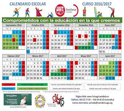 Calendario Escolar Cantabria Universidad Calendario Escolar 2016 17 Ense 241 Anza Ugt Fesp Cantabria