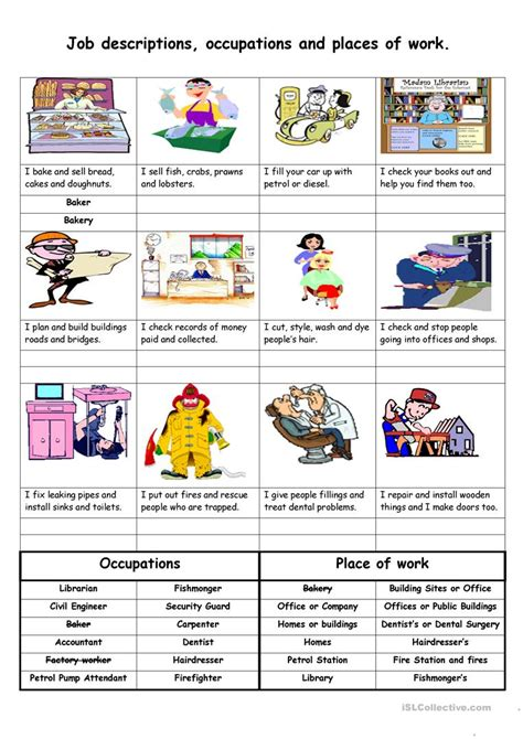 free printable english worksheets occupations job descriptions occupations and places of work worksheet