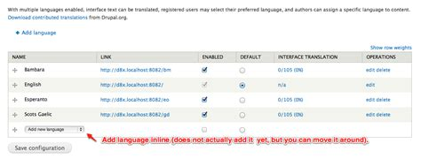 ui pattern inline edit move quot add language quot action to inline table form item like