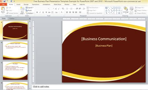 Free Business Plan Presentation Template For Powerpoint 2007 And 2010 Free Template Powerpoint 2007