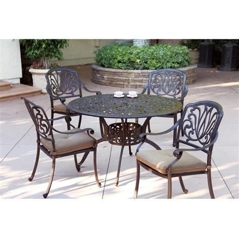 darlee patio furniture darlee elisabeth 5 cast aluminum patio dining set shopperschoice