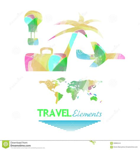 Elements Of My Vacation by Travel Elements Stock Illustration Image 58886444