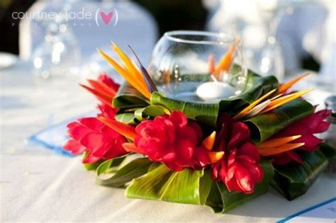 Elegant Hawaiian Style Centerpieces   Colorful, exotic