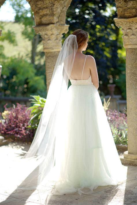 single tier chapel length soft tulle long bridal veil