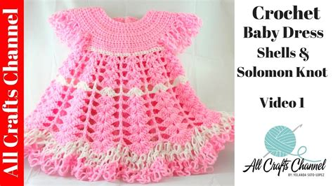 crochet baby dress shells video  subtitulos en