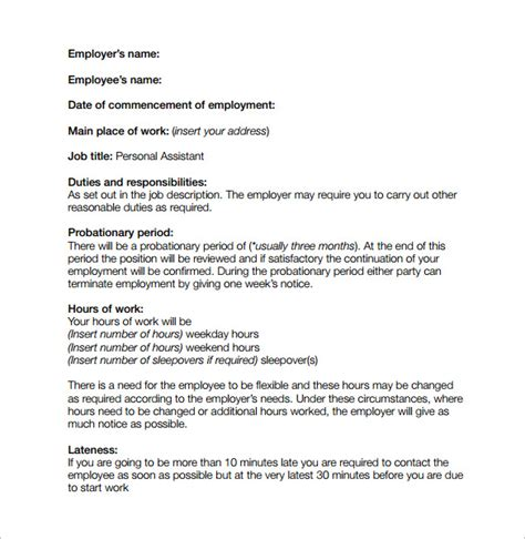 position agreement template contract template 9 free documents in pdf