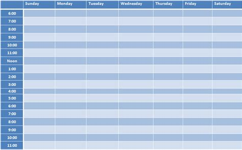 time schedule template excel free weekly schedule template