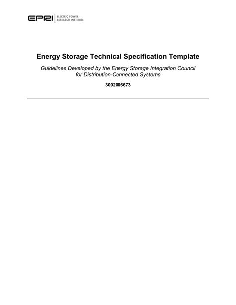 energy storage technical specification pdf
