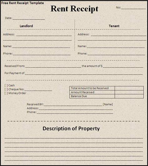 ground rent receipt template receipt templates free word s templates