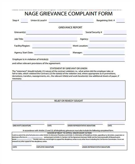 grievance template form sle grievance complaint forms 7 free documents in