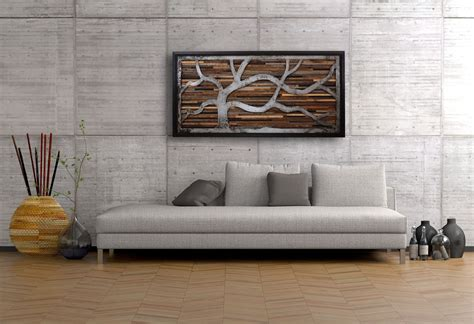 wooden art home decorations long and comfortable sofa colored in grey combined with