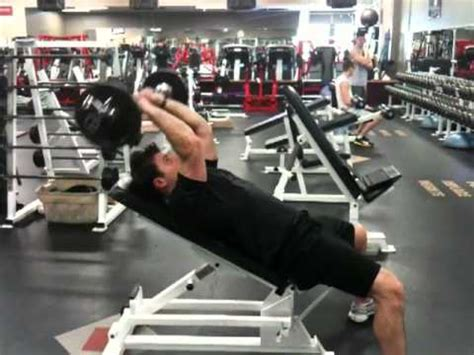 incline bench skull crushers ez bar incline skull crushers youtube