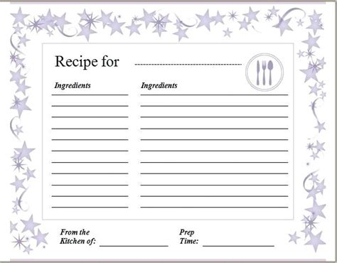 4x6 Recipe Cards Templates Word by Recipe Card Template For Microsoft Word Free Editable