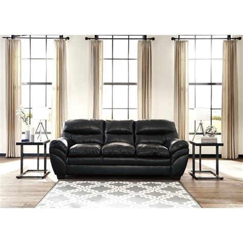 ashley furniture black leather couch ashley tassler durablend leather sofa in black 4650138