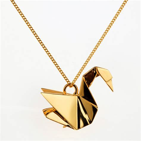 Gold Origami - rock it the immortalisation of a swan origami jewellery