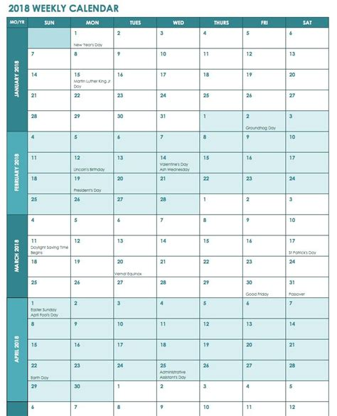 6 Week Calendar Template Excel week wise 2018 calendar 2018 calendars excel calendar