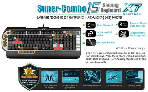 Keyboard X7 G800v a4 tech x7 g800v gaming keyboard g800v ccl computers
