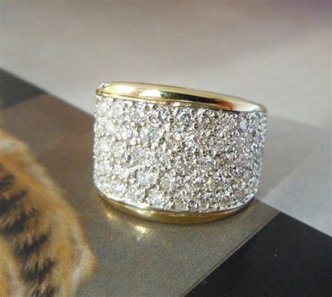 14k yellow gold thick pave band bridal