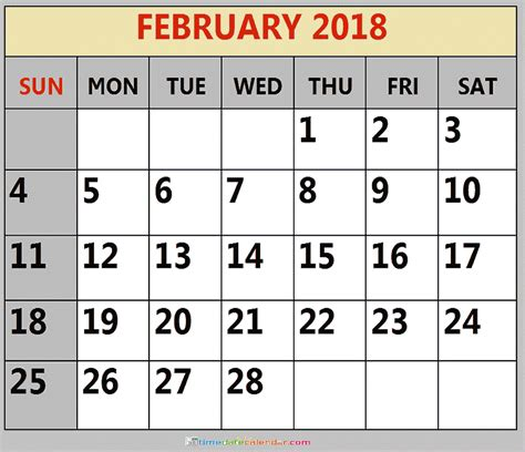 printable calendar 2018 time and date february 2018 calendar archives time date calendar