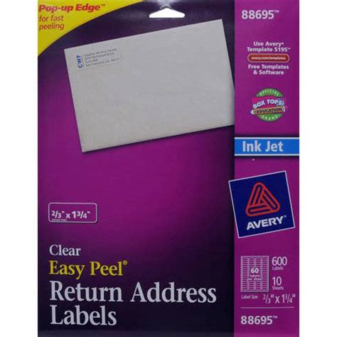 avery return address inkjet label white 600ct office