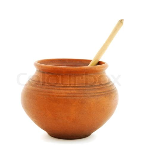 pots stock illustration image 45254770 clay pot with wooden spoon stock photo colourbox
