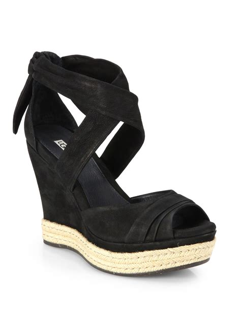 ugg wedge sandals ugg suede tie up wedge sandals in black lyst