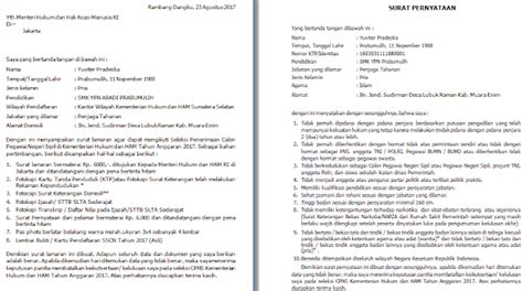 Surat Pernyataan Cpns 2017 by Contoh Surat Lamaran Dan Pernyataan Cpns Kemenkumham Sma