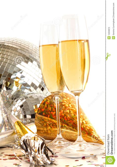 champagne glass  gold party hats stock image image