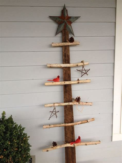 barn wood and birch branch christmas tree quick nail gun