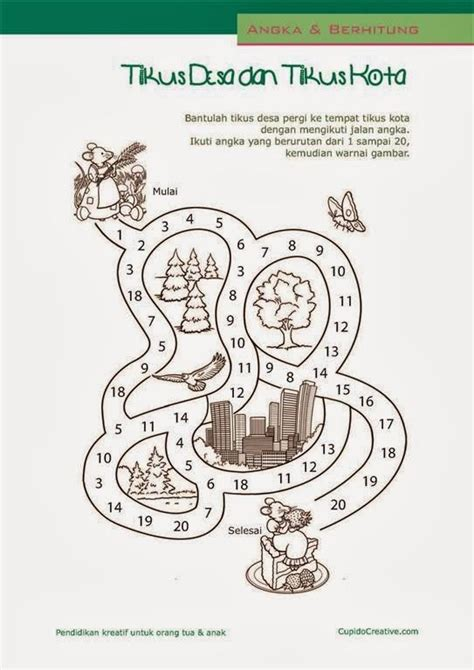 30 Permainan Kreatif Anak Untuk Meningkatkan Kecerdasan Bahasa Heru belajar hitung anak tk angka 1 20 permainan gambar maze labirin permainan anak