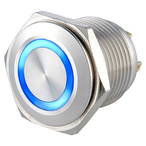 Stainless Push Button Momentary Horn With Ring Led Saklar Metal Switch 20 pieces lot stainless steel 16mm led momentary no ring illuminated push button