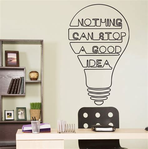 idea bulb words motivation quote wall decal home