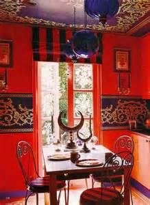 Moroccan Dining Room bright moroccan dining room decoration with red wall paint