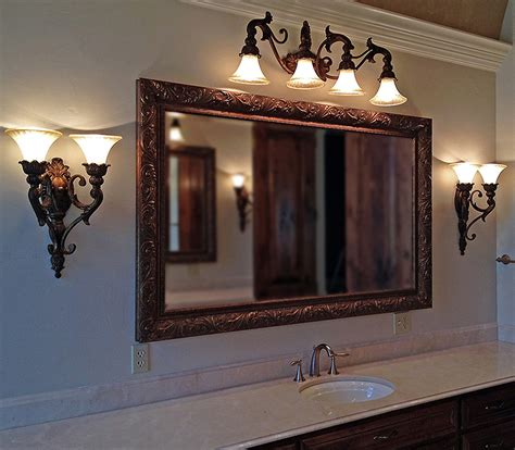 custom framed bathroom mirrors large wood bathroom mirror metal custom framed wood