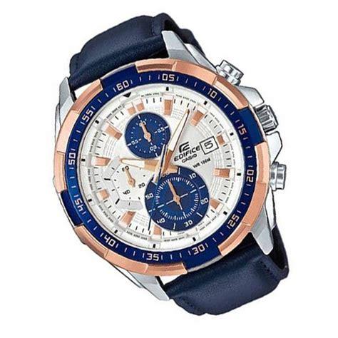 Casio Edifice 539 Leather casio edifice chronograph efr 539l 7c gold analogue blue