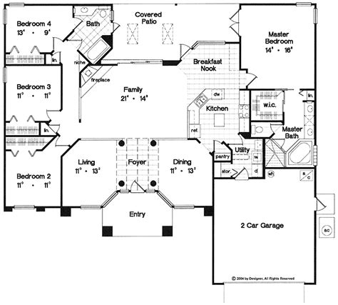 one story open floor plans with 4 bedrooms one