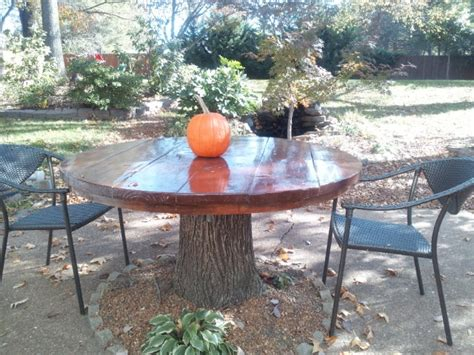 Tree Stump Patio by Beautiful Wood Patio Table Made From Tree Stump Featured