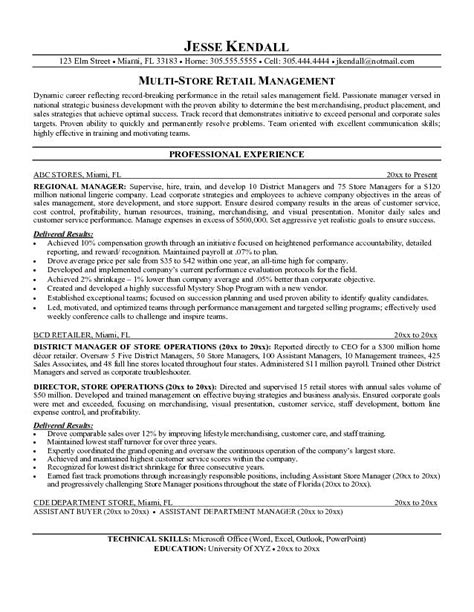 Resume Sles For Retail Store Manager Exle Multi Store Retail Manager Resume Free Sle