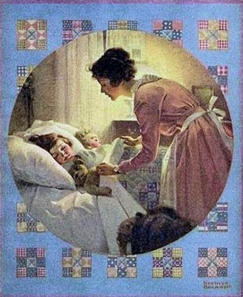 tucked into bed norman rockwell a mother tucking children into bed 1921