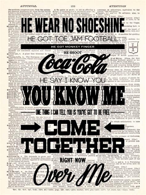 beatles lyrics the beatles come together lyrics poster vintage