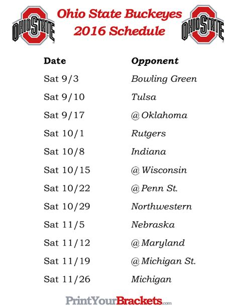 printable schedule ohio state football 2015 printable ohio state buckeyes football schedule 2016